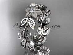 14kt white gold diamond flower, leaf and vine wedding ring, engagement ring,wedding band ADLR161 - AnjaysDesigns
