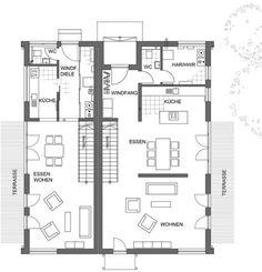 Grundriss einfamilienhaus modern gerade treppe  Schmaler Grundriss mit gerader Treppe | Haus | Pinterest ...