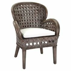"""Artfully handcrafted by artisans in Indonesia, this eye-catching wood arm chair is set apart by its curving silhouette and woven design.   Product: ChairConstruction Material: WoodColor: Grey washFeatures: Cushion included Handcrafted by artisans in Indonesia Dimensions: 40"""" H x 28"""" W x 29"""" D"""