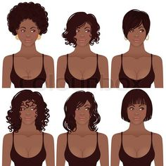 Stock vector of 'Black Women Faces. Great for avatars,  hair styles of African American women.'