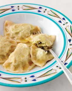 These rich pierogi are filled with a mixture of tender cabbage, cream cheese, and butter. Just before serving, the dumplings are sauced with clarified butter.
