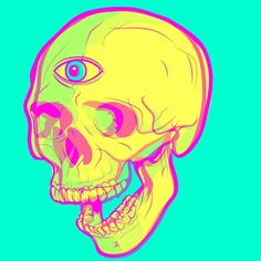 Please share it if you dig it, so I can pay my rent with my art someday. ^^By #tokebi #elloillustratio #skulls #psychedelic #trippyart #thirdeye #pineal #illustration #vector