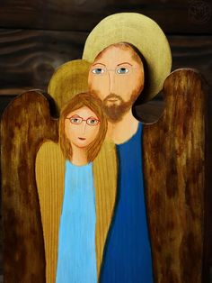 Double angel - two angels painted on old wooden board, handmade gift for him & her Handmade Gifts For Him, Angels, Couples, Wood, Painting, Madeira, Woodwind Instrument, Painting Art, Wood Planks