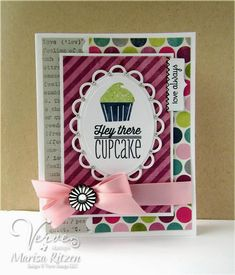 Marisa Ritzen: Rosemary Reflections - Tall and Skinny Sketch Oops - 9/3/14  (Verve stamp: Cupcake; die: A Cut Above.. SU stamp: By Definition. Spellbinders die: Lacy Oval/ Ovals.)