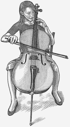 Black and White Drawings – Ad Illustration  - Cellist