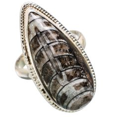 Ana Silver Co Large Rare Orthoceras Fossil 925 Sterling Silver Ring Size 8.75 RING830830