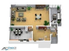 Im Erdgeschoss des Hauses liegen der großzügige Wohnbereich mit offenem Kamin und angrenzendem Wintergarten ebenso wie die Küche mit Essgelegenheit, einem Eingangsbereich und dem separaten Gäste-WC.