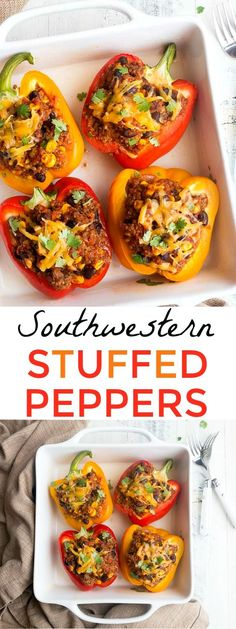 Southwestern Stuffed Peppers for Two. Dinners for Two, easy dinner ideas, healthy dinner ideas. #dinnerideas #easydinners #healthy #healthymeals #mealideas