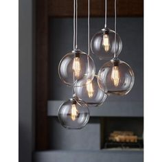 This clear glass mini pendant light features a vintage-style Nostalgic Edison bulb. Style # at Lamps Plus. Dining Room Light Fixtures, Kitchen Pendant Lighting, Kitchen Pendants, Kitchen Fixtures, Dining Room Lighting, Glass Pendants, Blown Glass Pendant Light, Mini Pendant Lights, Modern Industrial