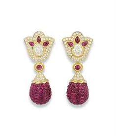 A PAIR OF DIAMOND AND RUBY EARRINGS