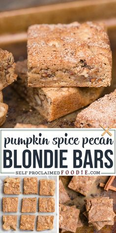 This super easy chewy Blondie Recipe is unique because raw pecan pieces are toasted in brown butter before getting mixed into the batter. A pumpkin spice and sugar mixture is sprinkled on top before baking creating a sweet crunchy topping on these Blondie Bars. #blondies #blondiebar #recipe #pumpkinspice #cinnamon #pecan #chewy #recipe #best Brownie Recipes, Cookie Recipes, Dessert Recipes, Bar Recipes, Dessert Bars, Pumpkin Spice Pecans, Spiced Pecans, Homemade Desserts, Easy Desserts