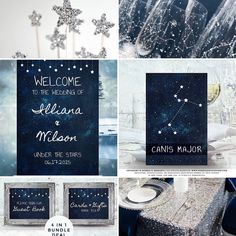 Celestial Wedding Decor, Under The Stars Party Theme Moodboard #wedding #weddinginspiration #weddingdecor