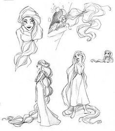disney princess rapunzel tangled concept art sketches