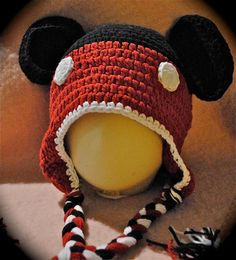 Toddlers Mickey Mouse Crochet Hat by SproutingSeed on Etsy, $10.00