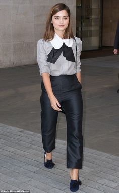 Style Queen: Victoria star Jenna Coleman proved she is worthy of being fashion royalty off-screen too, as she arrived at the BBC Radio 1 studios in central London on Wednesday morning