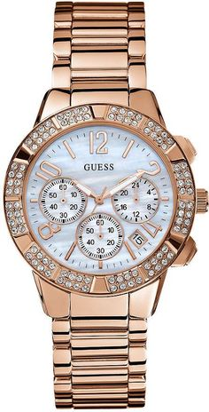 #Guess #Watch , Guess Women's U0141L3 Rose-Gold Stainless-Steel Quartz Watch with Mother-Of-Pearl Dial