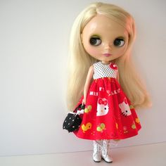 Hello Kitty dress for Blythe, off Etsy