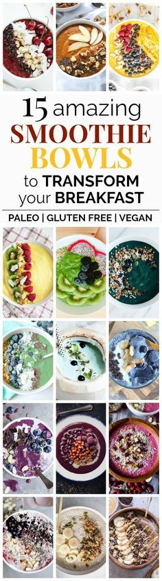 15 Delicious Smoothie Bowls in Every Color | These delicious, gorgeous, and healthy smoothie bowl recipes will totally transform your breakfast or snack! They're all vegan-friendly, gluten-free, and paleo-friendly. You can customize them by choosing your favorite ingredients and toppings - almost like an ice cream sundae, but healthy! #paleo #glutenfree #vegan #healthysnacks #breakfast