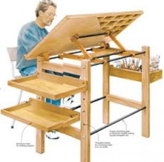 Drafting table fine woodworking - idea for adding shelves to my drafting table #woodworkingforkids