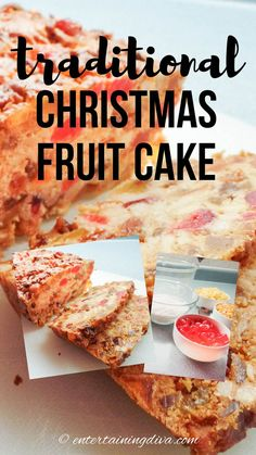 This version of a traditional Christmas fruit cake recipe uses tropical fruit instead of citrus peel for a delicious and colorful twist. #entertainingdiva #holidayrecipes #cakerecipe #christmas #desserts #holidaysandevents