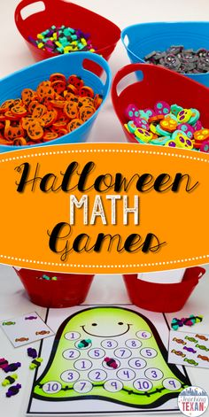 Math games are where engaging teaching is at!  These Halloween math games are perfect for centers in Kindergarten and some First Grade classrooms.  Subitizing, addition, subtraction, 100s chart, counting, it's all included!