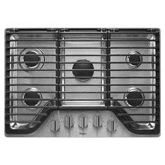 Whirlpool 30 in. Gas Cooktop in Stainless Steel (Silver) with 5 Burners including EZ-2-Lift Hinged Grates