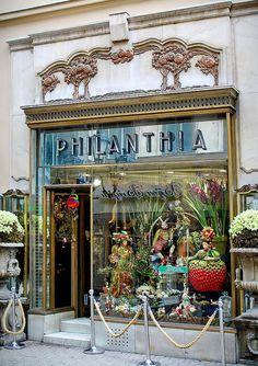 Flower shop in Budapest Architect: Kőrössy Albert Kálmán, Capital Of Hungary, Shop Facade, Art Nouveau Flowers, Shop Fronts, Lovely Shop, Shop Around, Budapest Hungary, Inspiration, Shopping