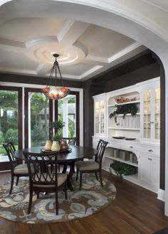 Dining Room Traditional- nice built in hutch. Also like this ceiling.