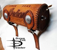 1787ef2915b60 CUSTOM Tooled LEATHER Chopper toolbag indian concho rigid bobber saddlebag  round