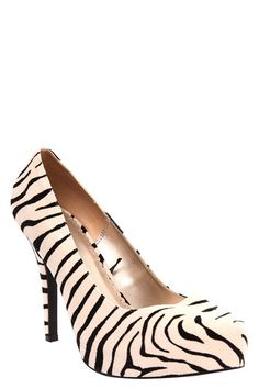 """Faux Suede Zebra System Heel - I pinned under """"My Style"""" because I think these are so fabulous!  However, not sure I could actually wear them.  Maybe.  I love!"""