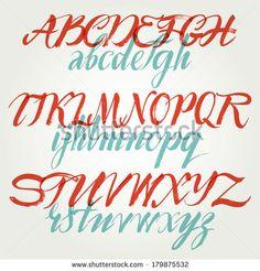 The alphabet in calligraphy brush - stock vector
