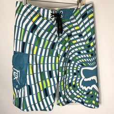 192f5ff99b Fox Racing Board Shorts Men's Swim Trunk Blue White Size 34 Zip Pocket #Fox  #