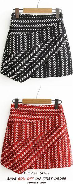Tribal Pattern Asymmetrical Skirt
