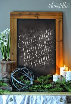 Silent Night Chalkboard Print and Download  by Dear Lillie