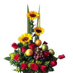 Church Flower Arrangements, Fruit Arrangements, Beautiful Flower Arrangements, Beautiful Flowers, Fruit Flower Basket, Fruit Flowers, Sympathy Gift Baskets, Sympathy Gifts, Pink Candy