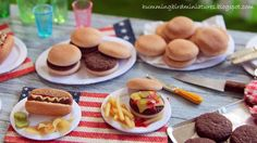 Beautiful 1 inch scale 4th of July miniatures made from polymer clay and paper by Caroline of Hummingbird Miniatures