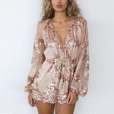 0b76214fe41 Deep V Neck Sequin Long Sleeve Tassel Short Mesh Bodysuit Elegant Rompers  Embroidery - COZY STYL