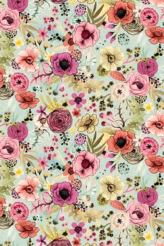 Soft Hand Painted Floral by Angel Gerardo - Bright pastel hand painted flowers on a light blue background on fabric, wallpaper, and gift wrap. Beautiful whimsical flower illustrations in pink, peach, mauve, and yellow.
