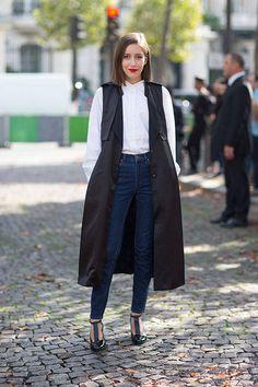 Sleeveless coat -Street Style Paris Fashion Week Spring 2014 - Paris Fashion Week Spring Street Style - Harper's BAZAAR