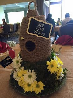"Centerpiece for my daughter& Cheer Banquet. The theme for the year was ""BEE. Bee Nursery, Cheer Banquet, Babyshower, Birthday Presents For Men, Birthday Diy, Birthday Recipes, Bee Party, Bee Crafts, Bee Theme"