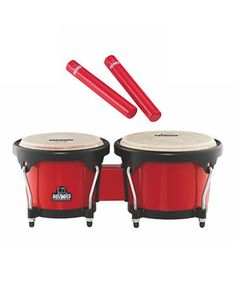 Get into the rhythm with this Latin-inspired percussion set! From the lightweight bongos to the fun rattle sticks, these high-quality pieces deliver a classic, worldly sound in a size that's suitable for children.