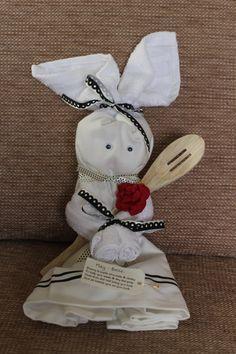 Kitchen Tea Towel Bunny by Smallgirlsinck on Etsy, £11.00