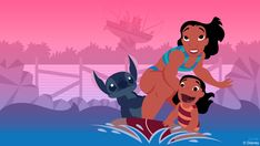 In today's Disney Doodle series, artist Ashley Taylor imagines what Lilo, Stitch, and Lilo's older sister Nani would do if they had the chance to visit Walt Disney World Resort.
