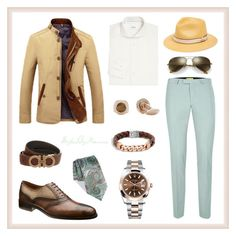 """Dapper Spring Fashion"" by mauricee-brewer on Polyvore featuring Topman, ETON, Ermenegildo Zegna, Salvatore Ferragamo, Bailey, Rolex, John Hardy, Ray-Ban, men's fashion and menswear"