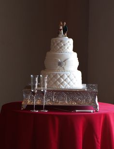 Quilted wedding cake with a little bit of bling.