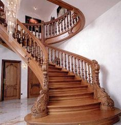 staircase ideas | Wood staircase design, carved wood stair railing