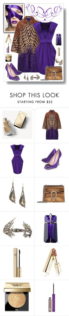 """Christopher Kane Jacquard Coat Look"" by romaboots-1 ❤ liked on Polyvore featuring Burberry, Alberta Ferretti, Coast, Gucci, Alexis Bittar, Thierry Mugler, Dolce&Gabbana, Bobbi Brown Cosmetics and Urban Decay"