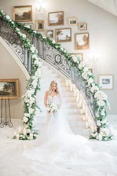 The Park Chateau Estate Wedding: Kaitlin and Ryan {New Jersey Wedding Photographer} Exotic Wedding, Home Wedding, Floral Wedding, Wedding Flowers, Dream Wedding, Wedding Staircase Decoration, Wedding Stairs, Wedding Decorations, Princess Wedding Dresses