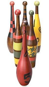 Find some bowling pins and handpaint for great conversational decor items!