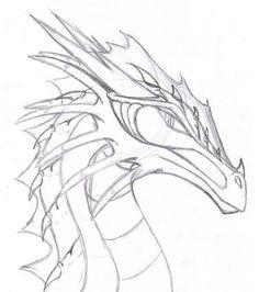 Realistic Dragon Drawing, Dragon Head Drawing, Easy Dragon Drawings, Dragon Artwork, Simple Dragon Drawing, Realistic Drawings, Animal Sketches, Animal Drawings, Cute Drawings
